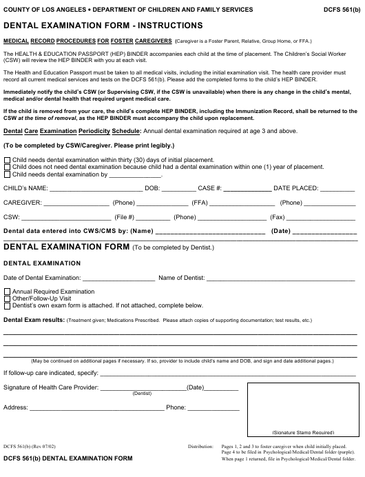 photograph regarding Printable Caregiver Forms called Variety DCFS 561(B) Down load Printable PDF, Dental Analysis