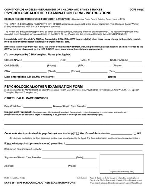 Form DCFS561(C)  Printable Pdf