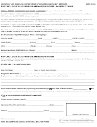 """Form Dcfs561(C) """"Psychological/Other Examination Form"""" - County of Los Angeles, California"""