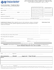 """""""Prior Approval/Non-formulary Medication Request Form - Blue Cross Blue Shield of Western New York"""" - New York"""