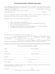 Personal Guarantee of Rental Agreement Template