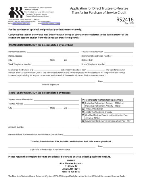 Form RS2416  Printable Pdf