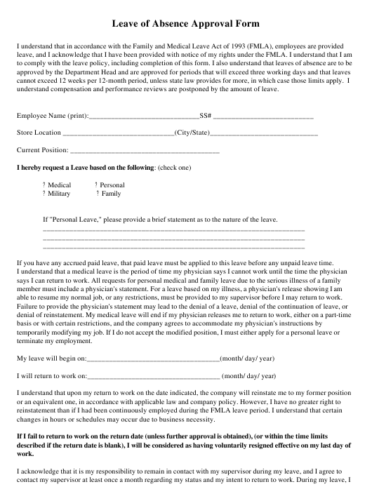 """Leave of Absence Approval Form"" Download Pdf"