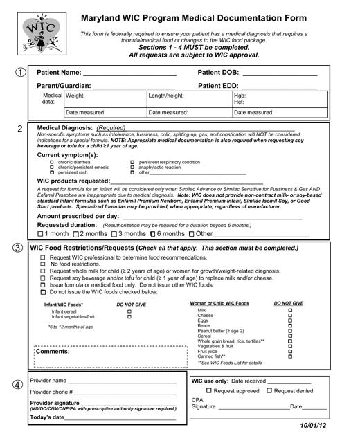 """Wic Program Medical Documentation Form"" - Maryland Download Pdf"