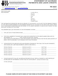 Form RS 6221 Statement of Accrued Payments and Leave Credits - New York