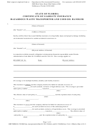 "DEP Form 62-730.900(5)(a) ""Certificate of Liability Insurance - Hazardous Waste Transporter and Used Oil Handler"" - Florida"