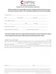 Loan Application Form - Statement For 912 Secondary Clearance - Capital Cdc
