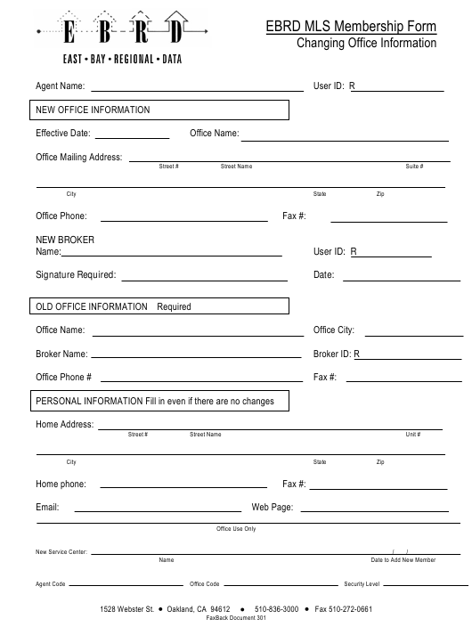 """Membership Form Template - Ebrd Mls"" - California Download Pdf"