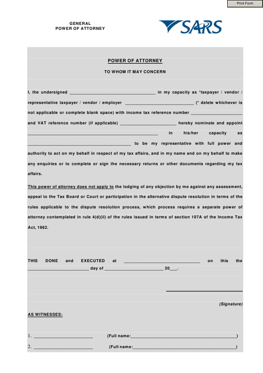 """""""General Power of Attorney Template - Sars"""" Download Pdf"""