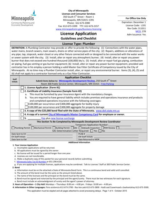 Trades License Application Form - City of Minneapolis, Minnesota Download Pdf