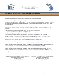 """Mortgage Loan Originator License Application Form"" - Michigan"