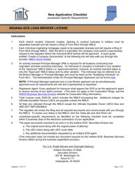 """Indiana-Sos Loan Broker License Form"" - Indiana"