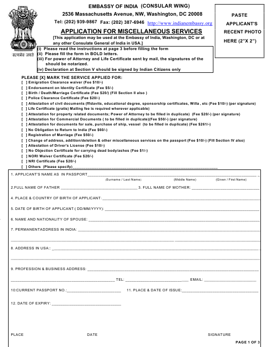 """""""Application for Miscellaneous Services - Embassy of India"""" - Washington, D.C. Download Pdf"""