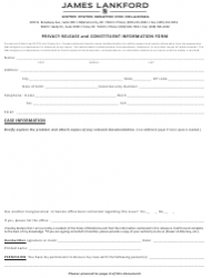 Privacy Release and Constituent Information Form - Oklahoma