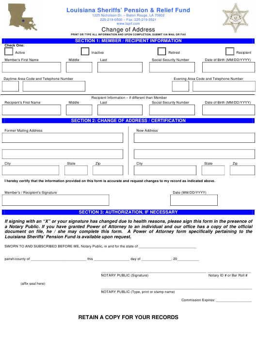 """Change of Address Form - Louisiana Sheriffs' Pension&relief Fund"" - Louisiana Download Pdf"