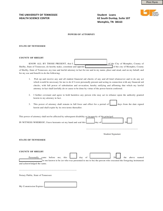 """""""Power of Attorney Form - the University of Tennessee Health Science Center"""" - City of Memphis, Tennessee Download Pdf"""