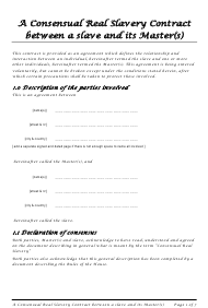 """Master Slave Consensual Real Slavery Contract Template"""