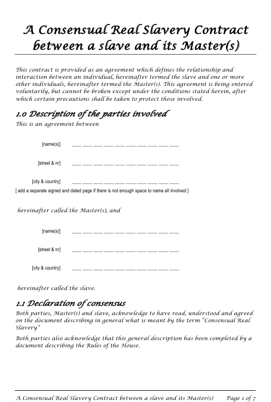 """Master Slave Consensual Real Slavery Contract Template"" Download Pdf"
