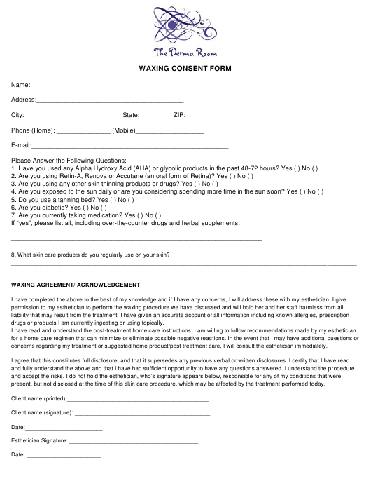"""""""Waxing Consent Form - the Derma Room"""" Download Pdf"""