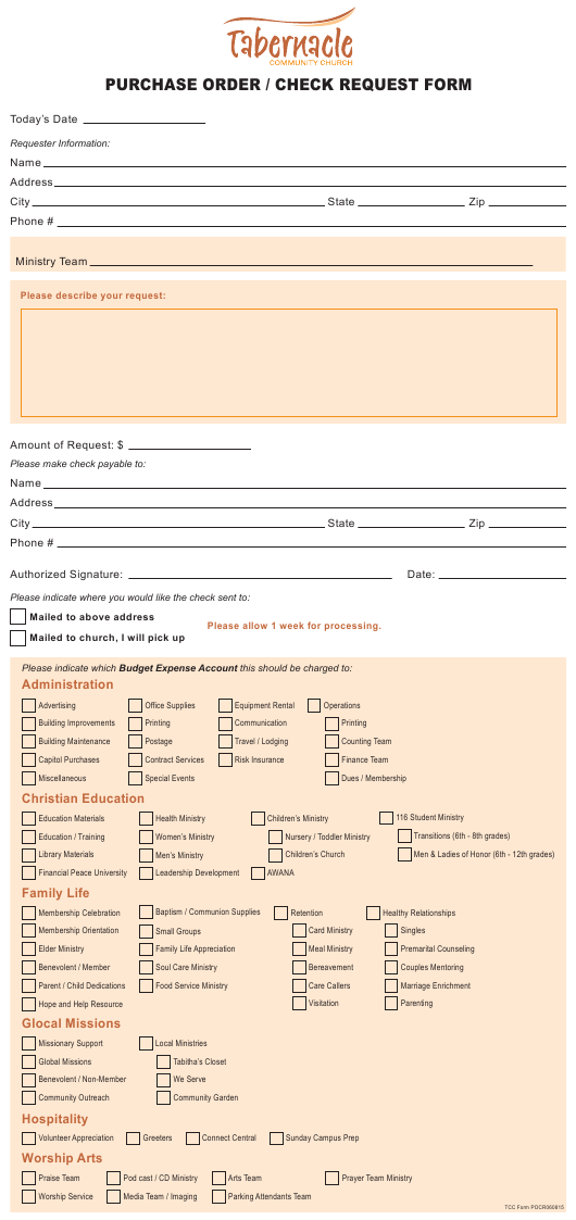 """""""Purchase Order/Check Request Form - Tabernacle Community Church"""" Download Pdf"""