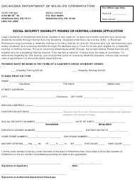 """""""Social Security Disability Fishing or Hunting License Application Form"""" - Oklahoma"""