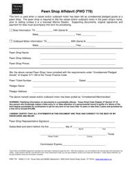 "Form PWD778 ""Pawn Shop Affidavit"" - Texas"
