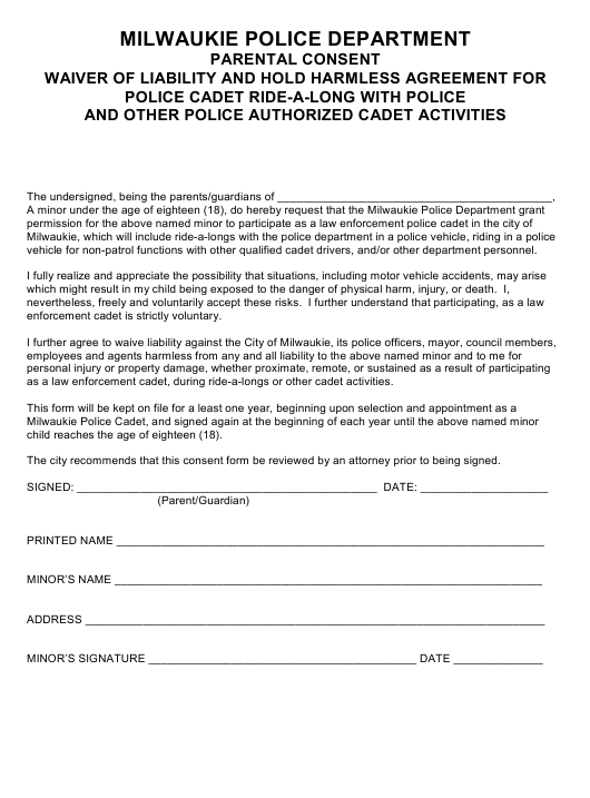 """""""Parental Consent Waiver of Liability and Hold Harmless Agreement for Police Cadet Ride-A-long With Police and Other Police Authorized Cadet Activities"""" - Milwaukie, Oregon Download Pdf"""