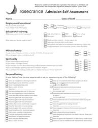 """""""Admission Self-assessment Form - Rosecrance"""""""