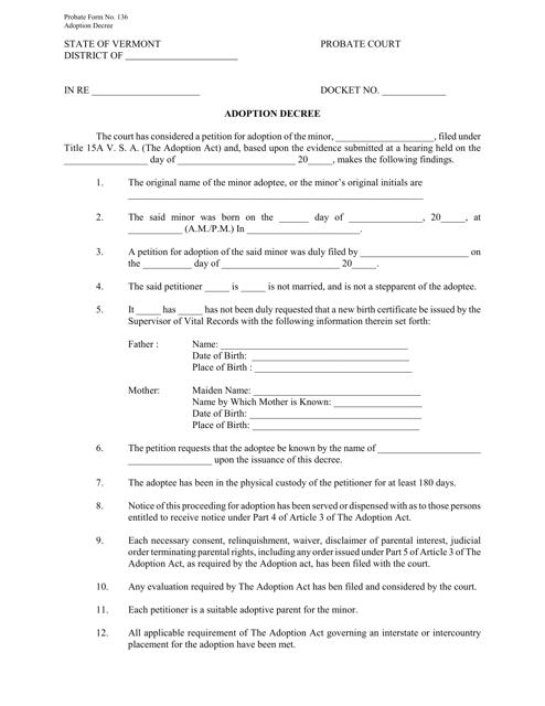 Form 136  Printable Pdf