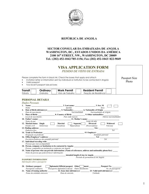 """Angolan Visa Application Form - Embassy of Republic of Angola"" - Washington, D.C. (English/Portuguese) Download Pdf"