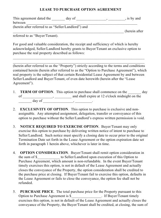 Lease To Purchase Option Agreement Form Download Fillable Pdf