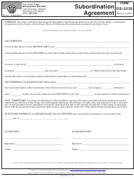 "Form DS-3239 ""Subordination Agreement"" - City of San Diego, California"