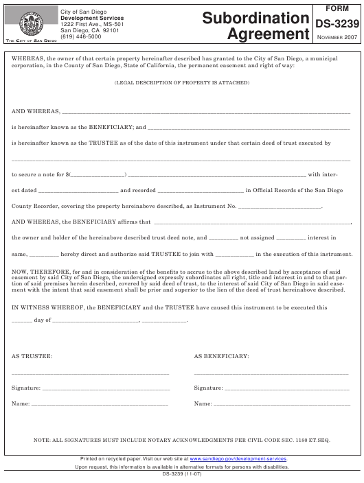 Form Ds 3239 Download Fillable Pdf Subordination Agreement
