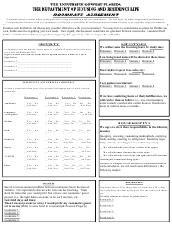 Roommate Agreement Form - the University of West Florida