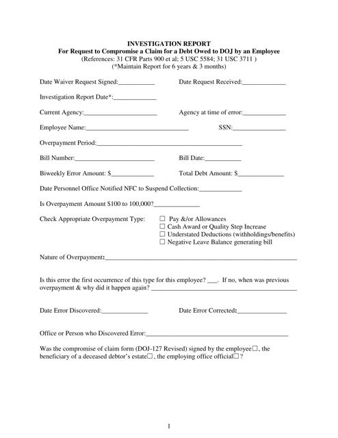 Form DOJ-JMD-FS-2  Printable Pdf