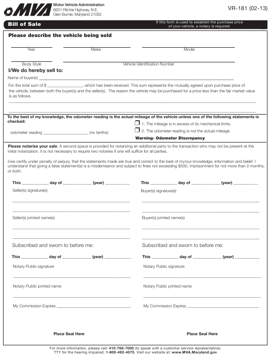 Form Vr 181 Download Fillable Pdf Bill Of Sale Maryland