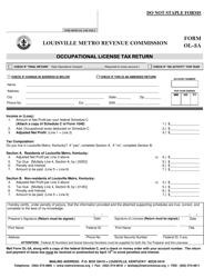 "Form OL-3a ""Occupational License Tax Return"" - Louisville, Kentucky"