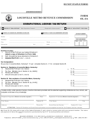 Form OL-3a Occupational License Tax Return - Louisville, Kentucky