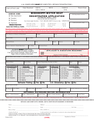 """Mississippi Motor Boat Registration Application Form"" - Mississippi"