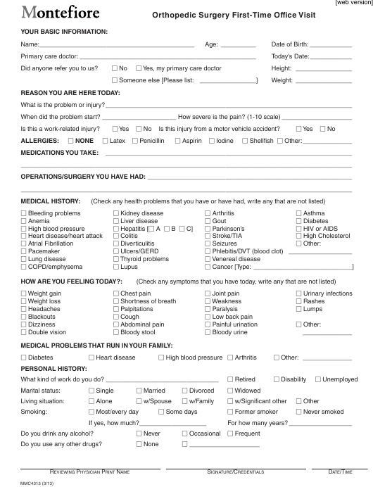"""""""Orthopedic Surgery First-Time Office Visit Form - Montefiore"""" Download Pdf"""