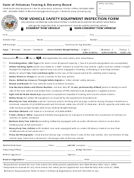 """Tow Vehicle Safety Equipment Inspection Form"" - Arkansas"