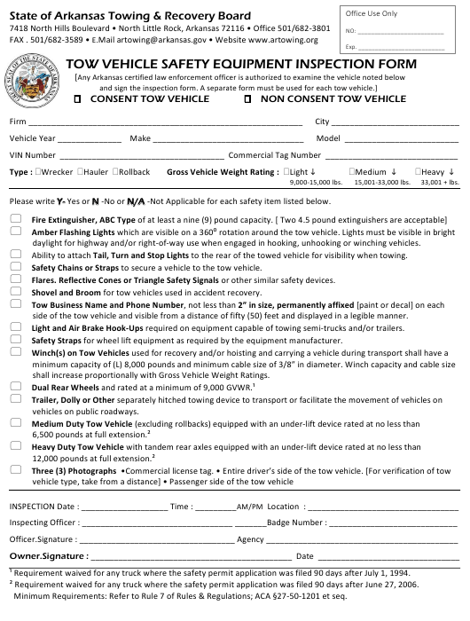 """""""Tow Vehicle Safety Equipment Inspection Form"""" - Arkansas Download Pdf"""