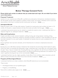 """Botox Therapy Consent Form - Arnot Health"""
