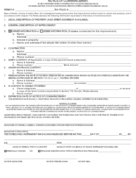 """Notice of Commencement Form"" - Florida Download Pdf"