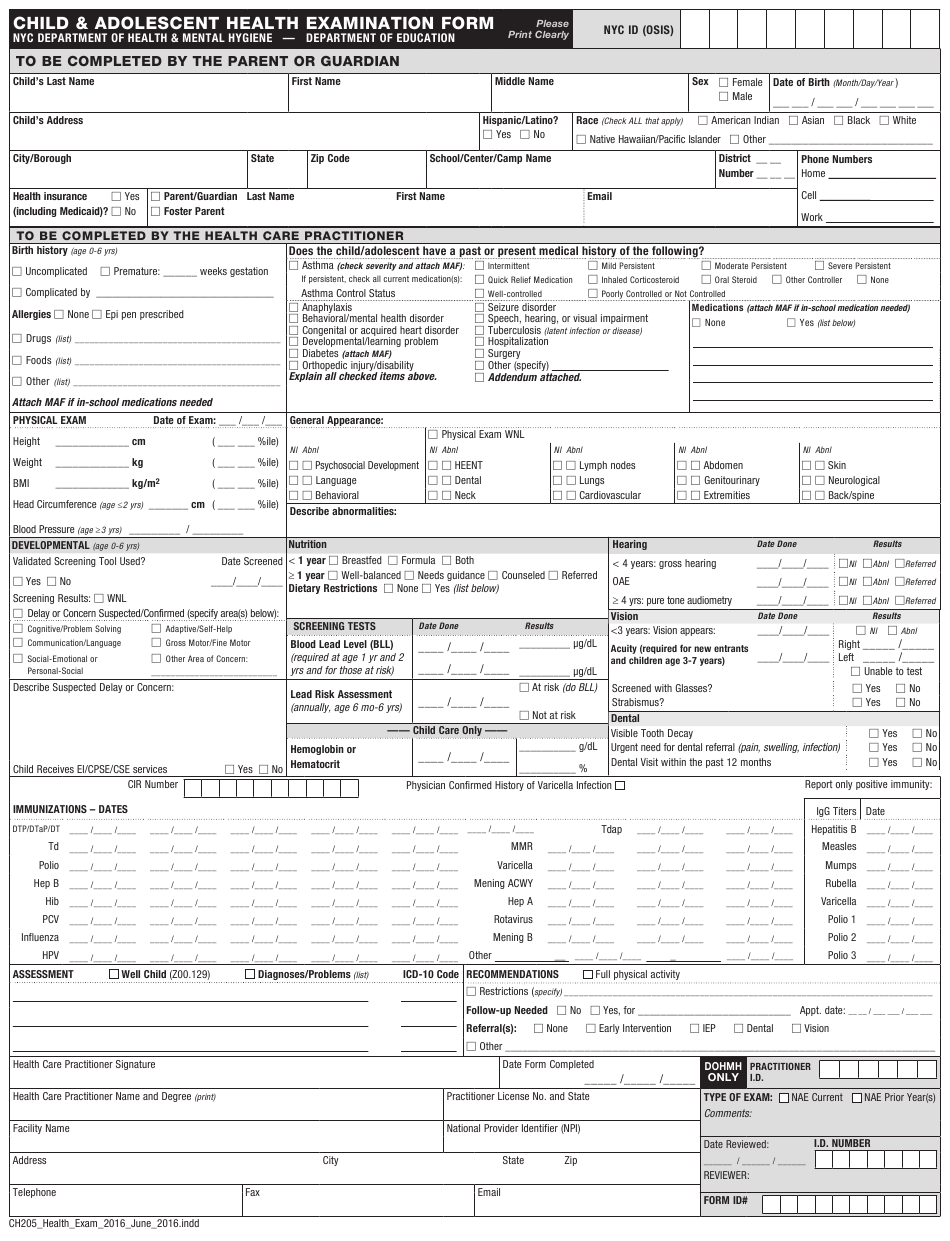 Form 205 Download Printable PDF or Fill Online Child and ...
