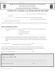 """Affidavit to Replace Designer of Record"" - Rhode Island"