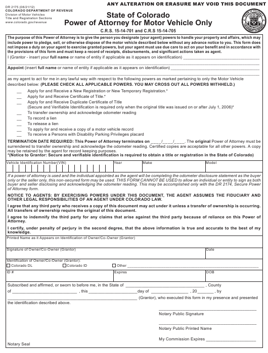 Form DR2175  Printable Pdf