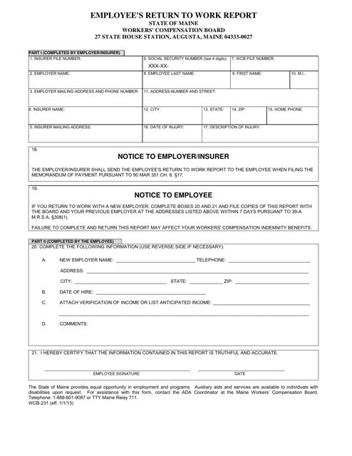 Form WCB-231 Printable Pdf