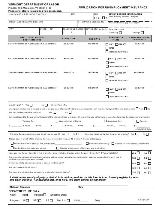 Dol Form B 65 Download Printable Pdf Or Fill Online Application For Unemployment Insurance Vermont Templateroller