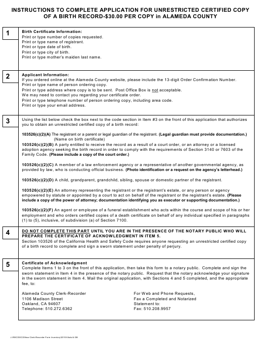 """""""Application for Unrestricted Certified Copy of a Birth Certificate"""" - Alameda County, California Download Pdf"""
